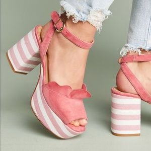 Anthropologie Ruffled Pink Striped Platform Heels